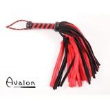 Avalon - Flogger med lær og pels, Sort og rød