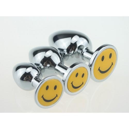 BQS - Buttplug i Metall med Smilefjes, Small