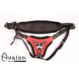 Avalon - Strap-on sele i sort og rødt lær